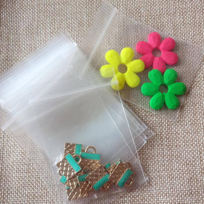 50pcs Mini Jewelry Ziplock Zip Zipped Lock Reclosable Plastic Poly Clear Bags Thickness 0.1mm Transparent Jewelry Package Bag