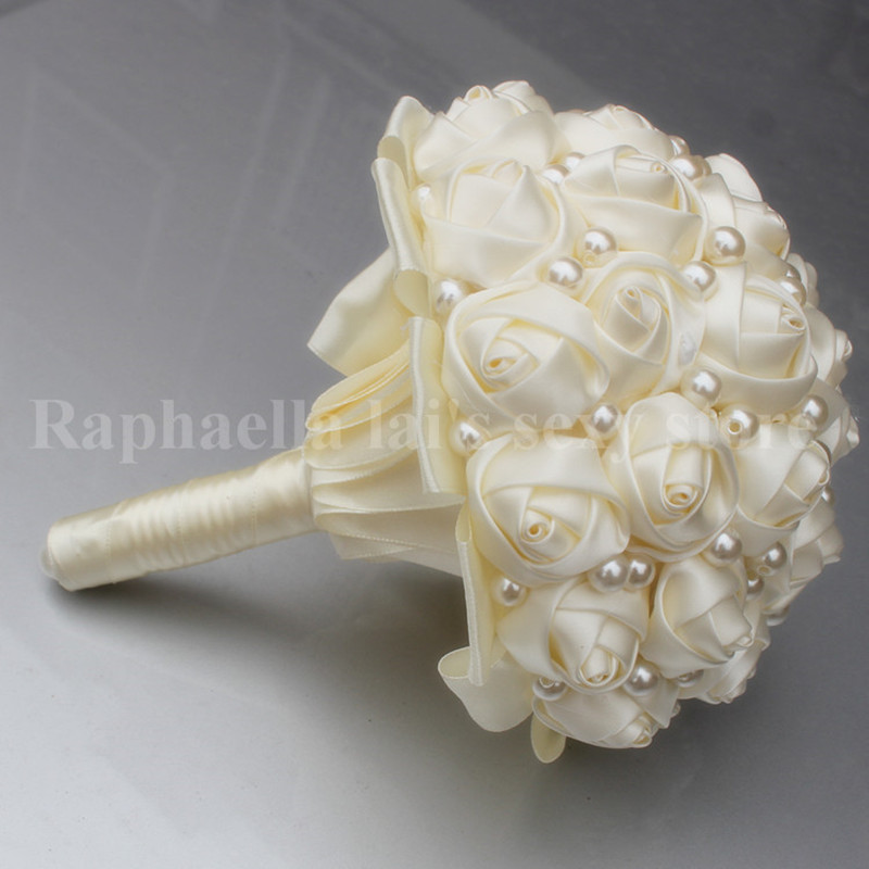 How To Make A Wedding Bouquet With Artificial Flowers.Pure Color Ivory Pearls Bridal Wedding Bouquets Artificial Flower