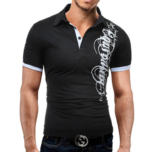 Hot Venda Nova 2018 Marca de Moda Masculina Camisa Polo Impressão  Curto-Luva Slim Fit 051e793d622da
