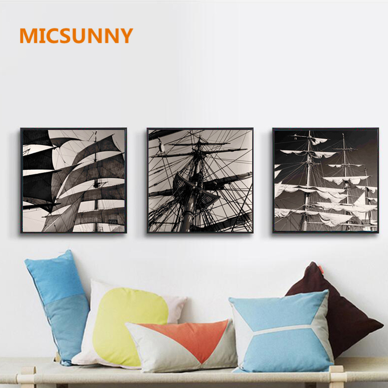 MICSUNNY Modern Large Sailboat Modular Oil Patings Vintage Black White Canvas Square Prints For Living Room Home Wall Decor