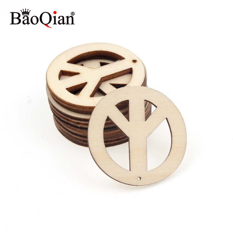 10Pcs 40mm Wooden Peace Sign Round Circles Ring DIY Wood Craft Card Making Scrapbooking Decoration DIY Embellishment