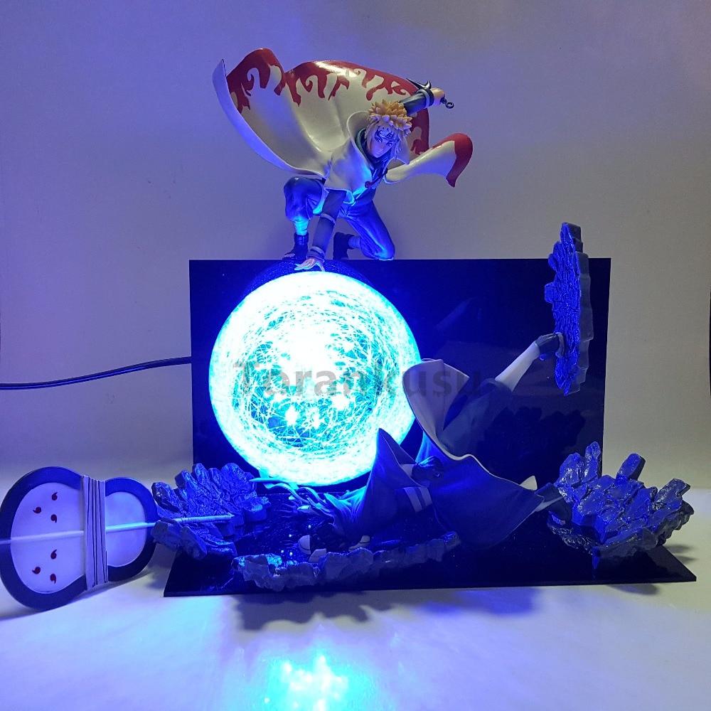 Naruto Action Figure Minato VS Obito Rasengan Led Light Scene Toy Anime Naruto Shippuden Figurine Uchiha Obito Model Toys Gift