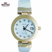 Relógios das mulheres de Quartzo relógios de Pulso relógio de Couro Da Moda estilo do relógio Banda Marca de Luxo Strass Senhoras quartzo-relógio À Prova D' Água