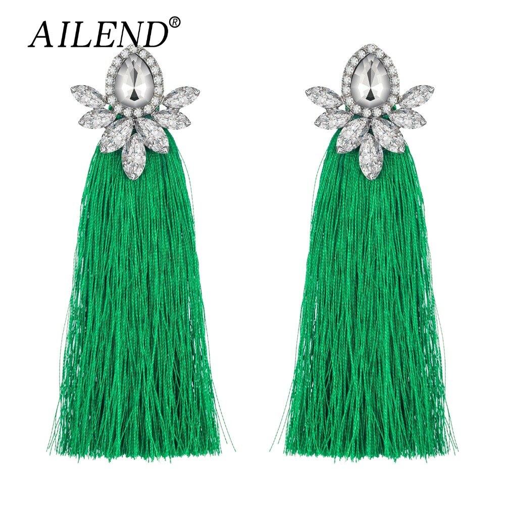 AILEND fashion jewelry earrings ladies 2018 retro fringe long jewelry geometric alloy jewelry pendant earrings