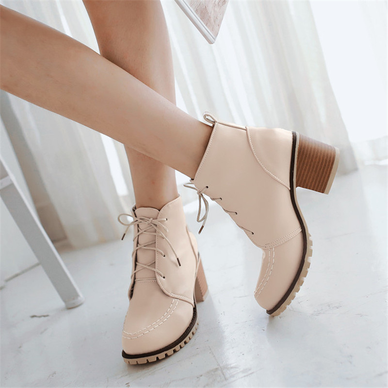 Autumn Winter Women Boots High Quality Solid Lace-up European Ladies shoes Leather Fashion Boots Free Shipping Plus Size 34-43 new arrival women boots plus size shoes lcce up pointed toe high quality full grain leather fashion boots free shipping