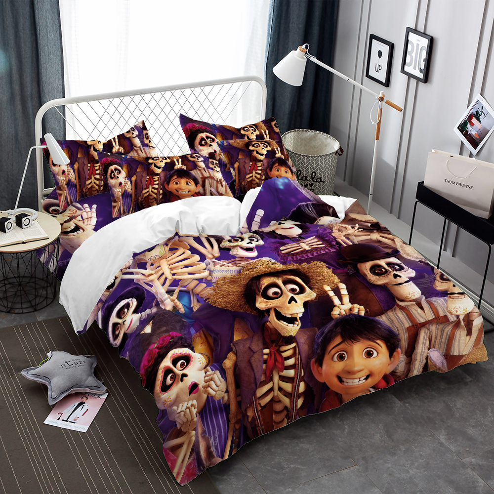 Dropship 3pcs 4pcs Bedding Set Skull Kids Cartoon Countryside Music Duvet Cover Set US Queen King Size Digital Printing