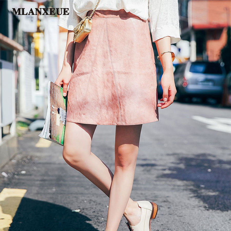 Summer High Waist Classic Faux Leather Skirt Chic Slim Pencil Skirts Casual A Line Skirt Half