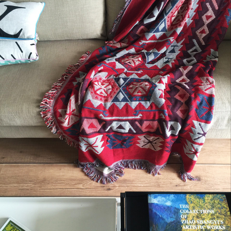 Bohemian cotton blanket sofa decorative slipcover Throws on Sofa/Bed/Plane Travel Plaids Rectangular color stitching blankets  american lattice blanket sofa decorative slipcover throws on sofa bed plane travel plaids rectangular color stitching blankets