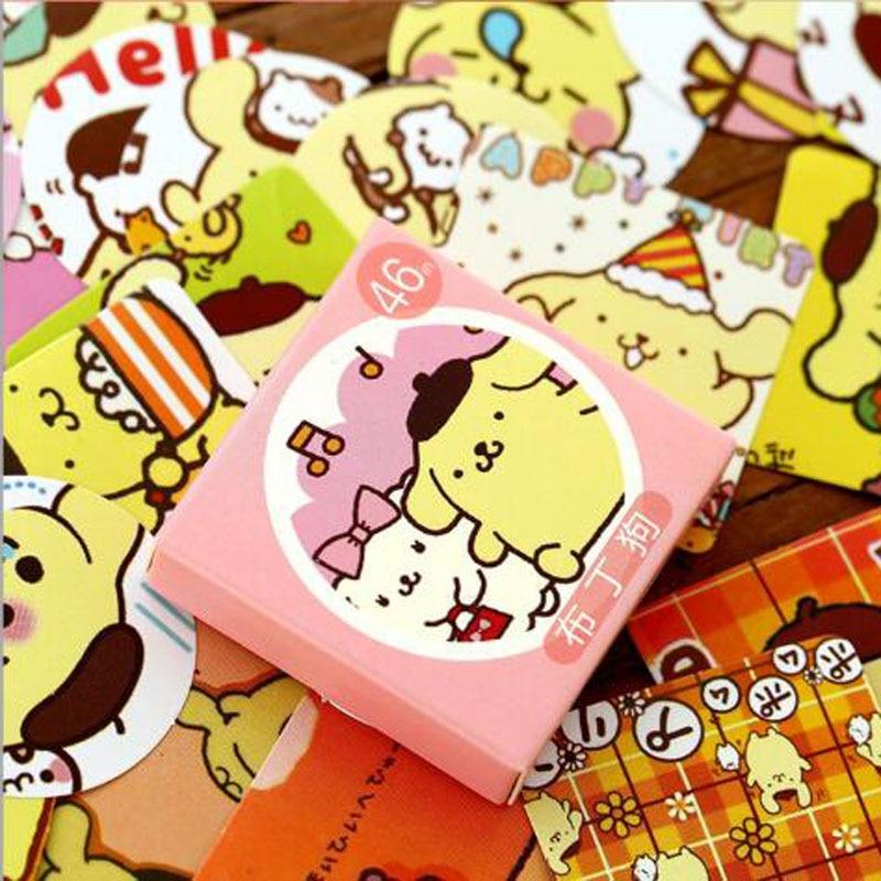 Купить с кэшбэком Cute Yellow Pudding Dog Label Sticker Decorative Stationery Stickers Scrapbooking DIY Diary Album Stick Lable 46PCS/box