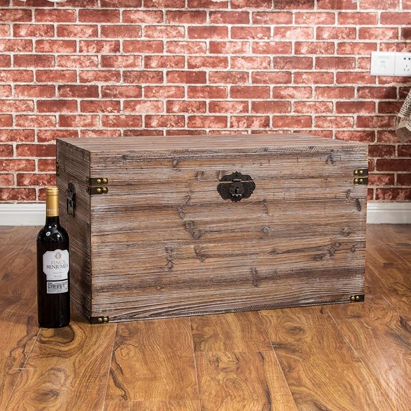 solid hand made antique wooden storage box (4)