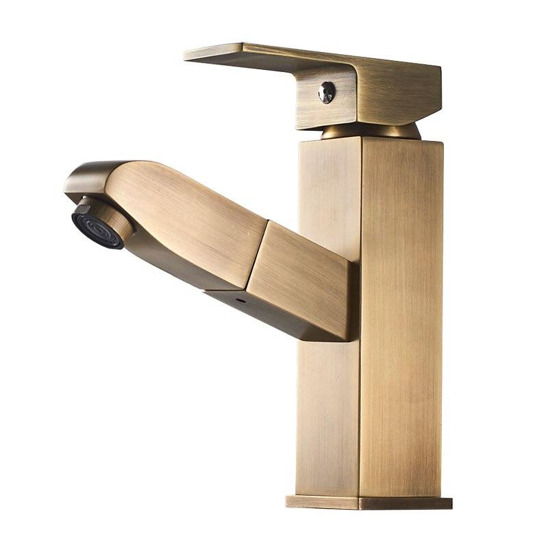Bathroom Faucet Pulling Single Handle Basin Mixer Tap Bath Antique Faucet Brass Yellow 802-10Bathroom Faucet Pulling Single Handle Basin Mixer Tap Bath Antique Faucet Brass Yellow 802-10