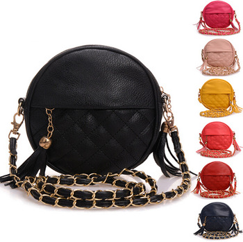 Tassel black leather women shoulder bags round Plaid women messenger bags crossbody bags for women purses and handbags