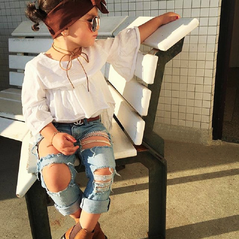 2018 New Fashion Little Girls Ripped Jeans Clothing Set -4719