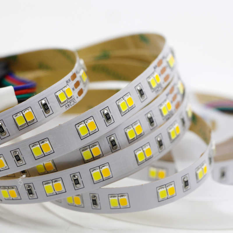 5 M 10 M 24 V Double Warna Lampu Strip LED 2835 CRI> 95 Fleksibel Pita CW/WW dual Warna Putih Suhu Adjustable CCT Strip Pita