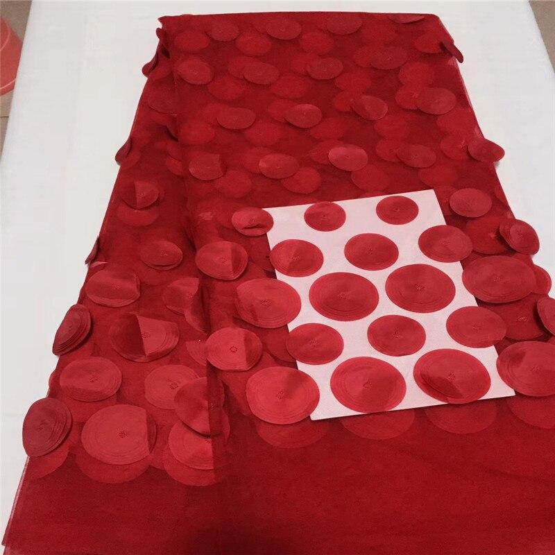2018 nowy projekt czerwony francja tiul koronka koronki z 3D Appliqued koronki tkaniny wysokiej jakości najnowsza koronka afrykańska 2018 Noble 3D koronki tkaniny w Koronka od Dom i ogród na  Grupa 1