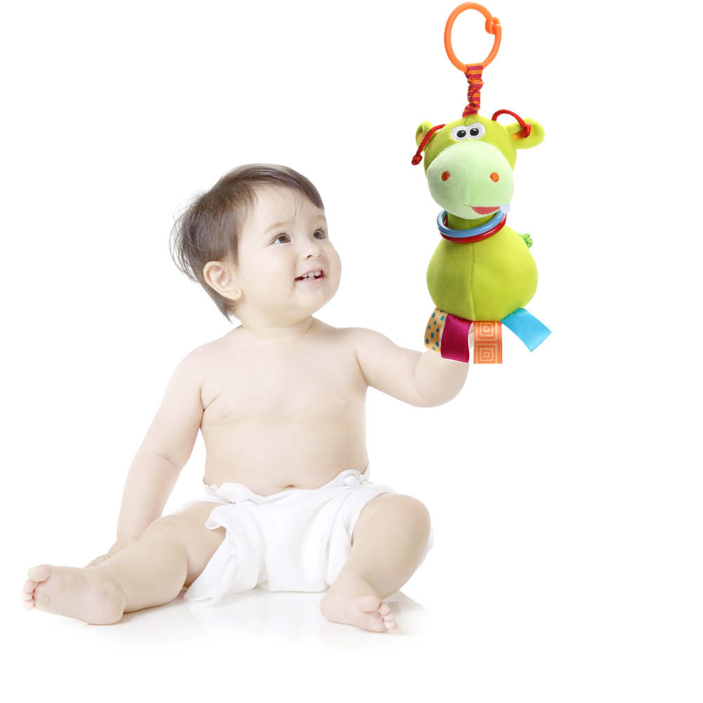 Cute Baby Toys : Cute animal plush handbell newborn baby rattle doll toy