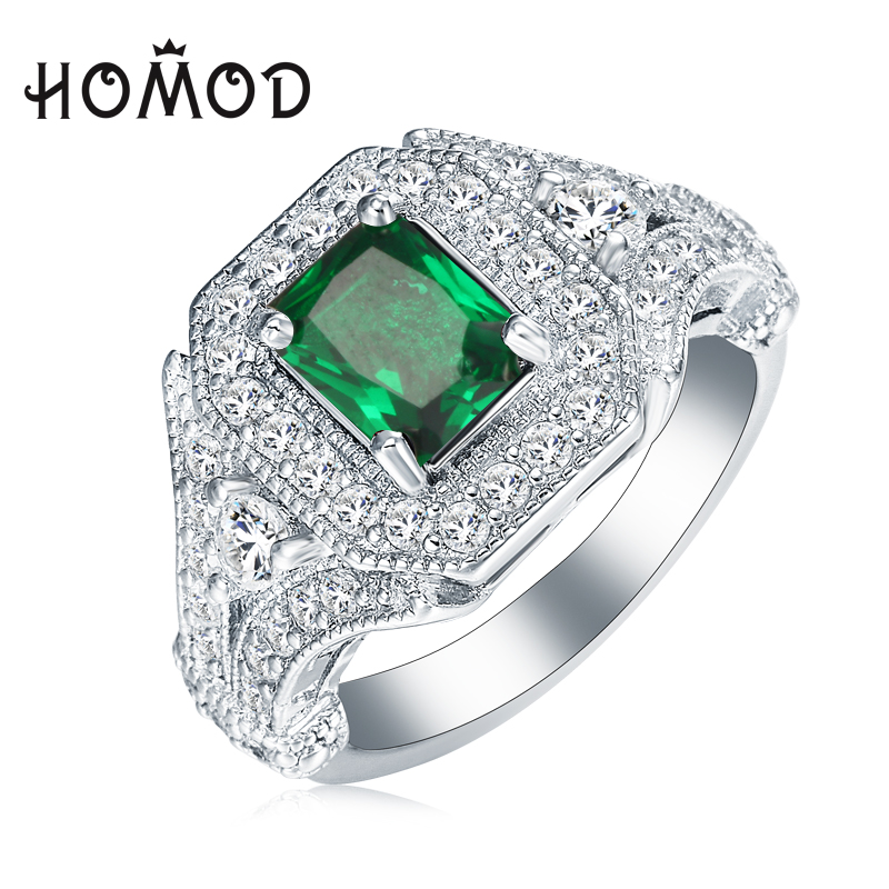 HOMOD Silver Color Classical Square Green Crystal Inlay Jewelry For Women As Chirstmas Gift JB0045