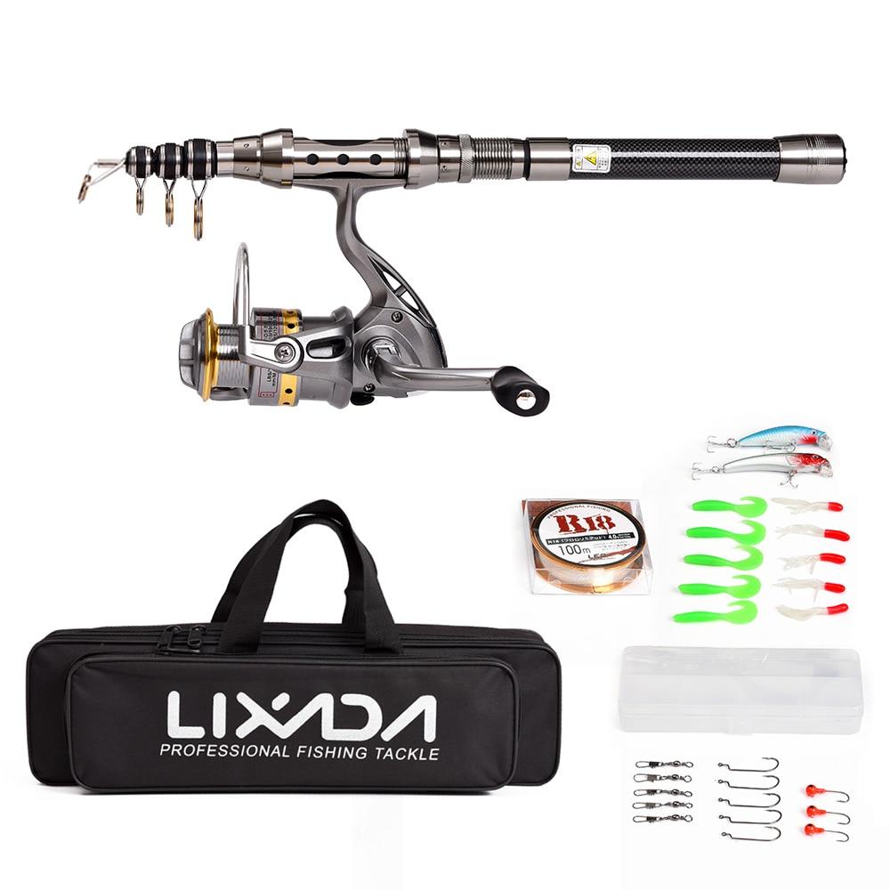 Lixada fishing rod reel combo full kit telescopic spinning for Fishing rod set