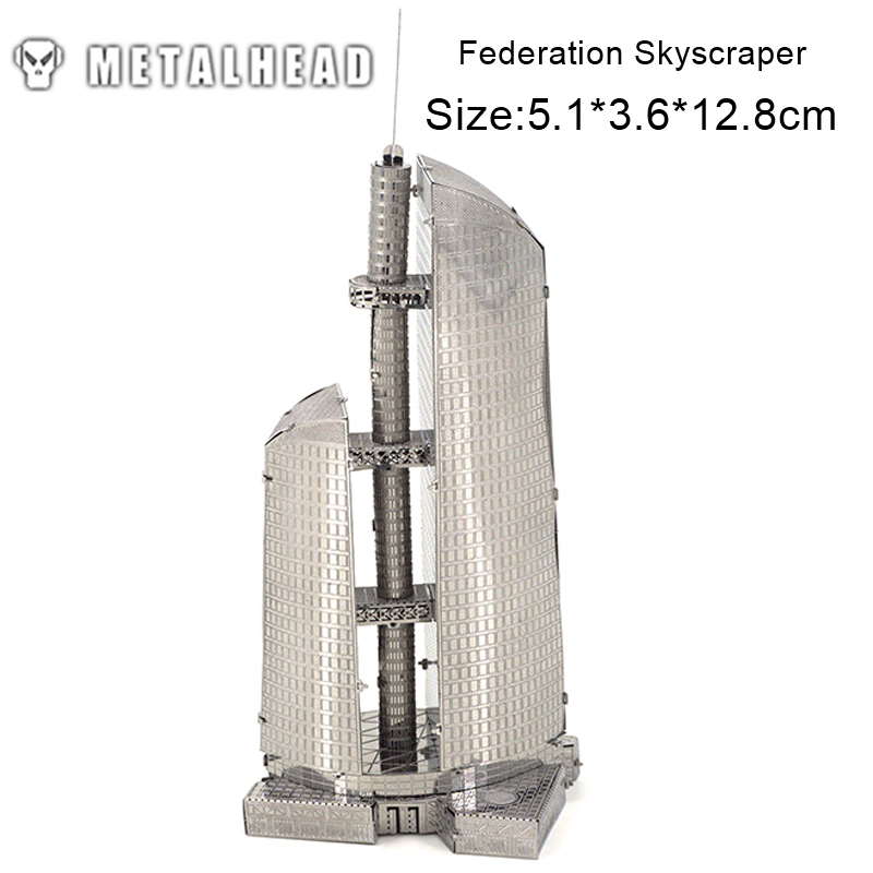 US $12 48 |3D Metal Puzzles Kits Stainless Steel Model DIY Moscow  Federation Skyscraper Building Architecture Educational Toys for  Children-in Puzzles
