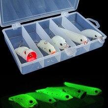 5 Pcs/Lot Luminous Minnow Fishing Lures Popper Crank VIB Carp Pencil Treble Hooks Pesca Fishing Tackle Baits + Box Set
