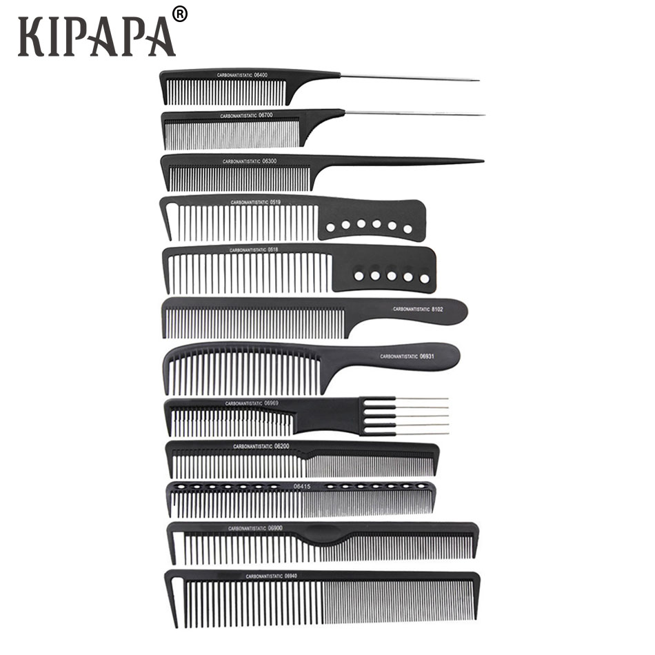 12pcs Barber Cutting Comb Hairdressing Carbon Antistatic Combs Hair Trimmers Comb Hair Brush Personal Care Appliance Accessories