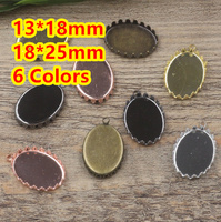 13 18mm 18 25mm 100pcs Bronze Silver Gold Black Crown Blank Pendant Hanger Trays Bases Cameo