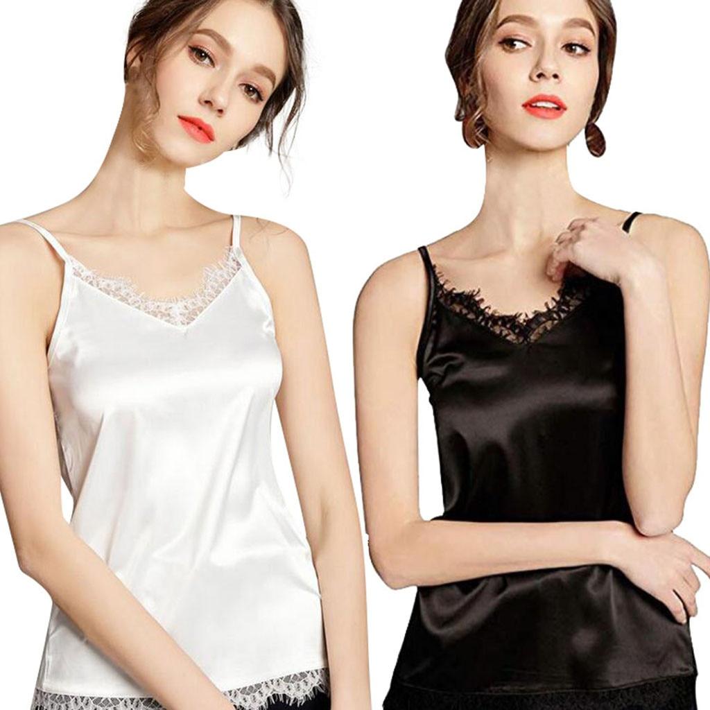 Blouse Silk Tank Satin Sexy Tank-Shirt Camis Loose Casual Women's Sleeveless Ladies