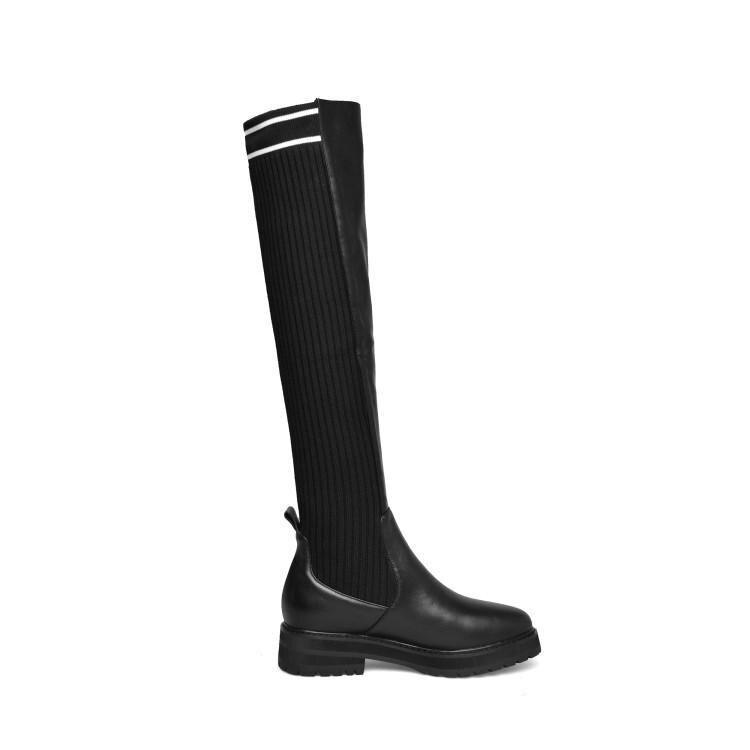 Le Zapatos Sur Bottes Moyen Talon Slip Femmes Longues Bout Célèbre Noir Genou Caoutchouc Patchwork Rond Pour Marque Fille Moto qwSp0TY
