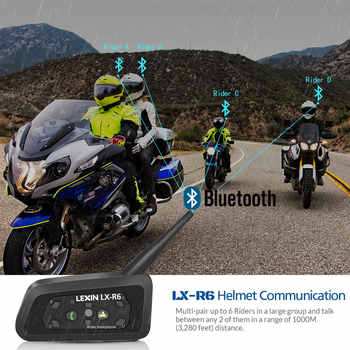 Lexin 4PCS R6 1200M Motorcycle Bluetooth Helmet Headsets Intercom up to 6 Riders Wireless Waterproof Interphone Headsets GPS MP3