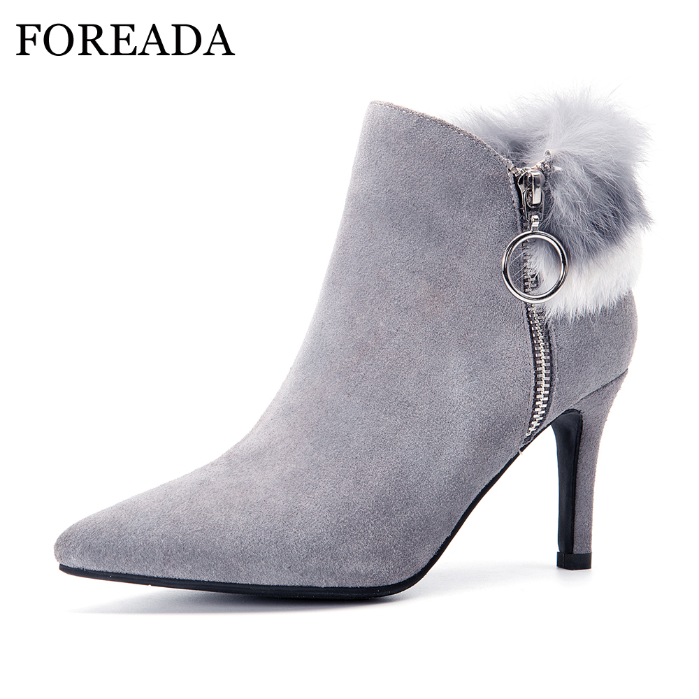 FOREADA Genuine Leather Ankle Boots Women Winter Boots Real Rabbit Fur Boots Zip Sexy High Heel Shoes Cow Suede Leather Footwear