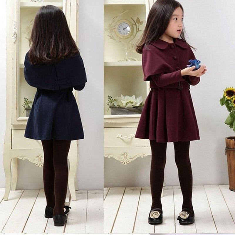Комплекты из 2 предметов для малышей 2018 г. осенне зимний комплект одежды для девочек, плащ и платье комплект из двух предметов для подростков Детские костюмы для девочек