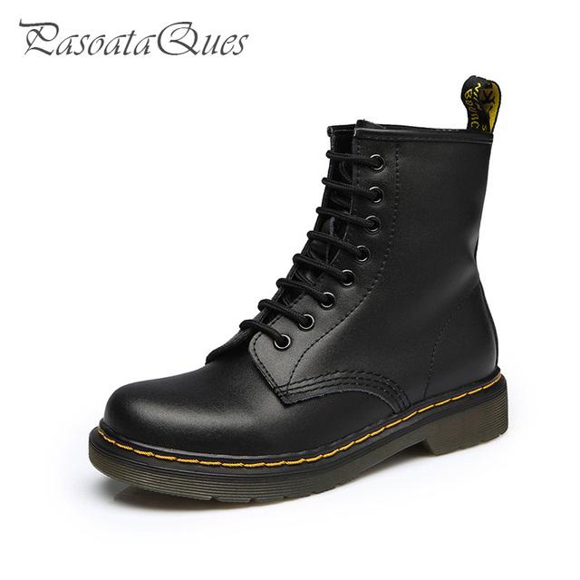 De cuero de estilo británico mujeres Martins Botas de trabajo de la motocicleta militar botines con cordones zapatos otoño invierno para mujer Botas femeninas