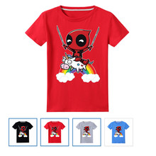 NEW 100% Cotton,Deadpool With Unicon Pattern Children T shirt Kids Cartoon Funny T-shirt Boys/Girls Short Sleeve Clothes 6-14Y