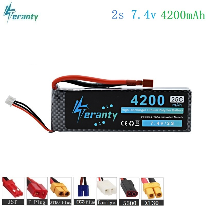 HIGH POWER 7.4V 4200mAh 25C 2S LiPo Battery for RC Airplane Helicopter Car Boat 2S 4200 mah 7.4 V Lipo Battery With T/XT60 Plug image