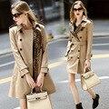 2016 Специальное Предложение Бросился Мода Burderry Траншеи женская Модная Хлопка Leopard Pattern Пальто Двойной Грудью