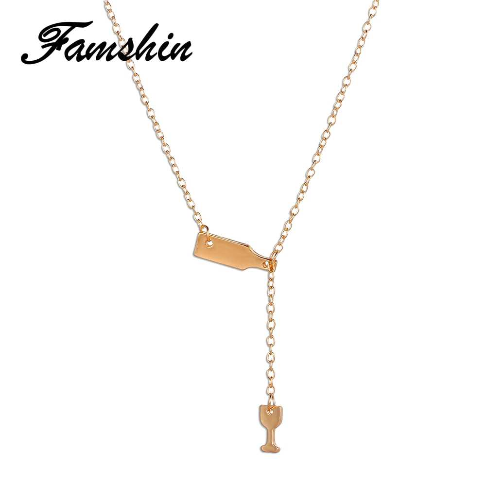 Wine Bottle Cup Long Pendant Necklace Statement Choker Chain Necklace Jewelry SP