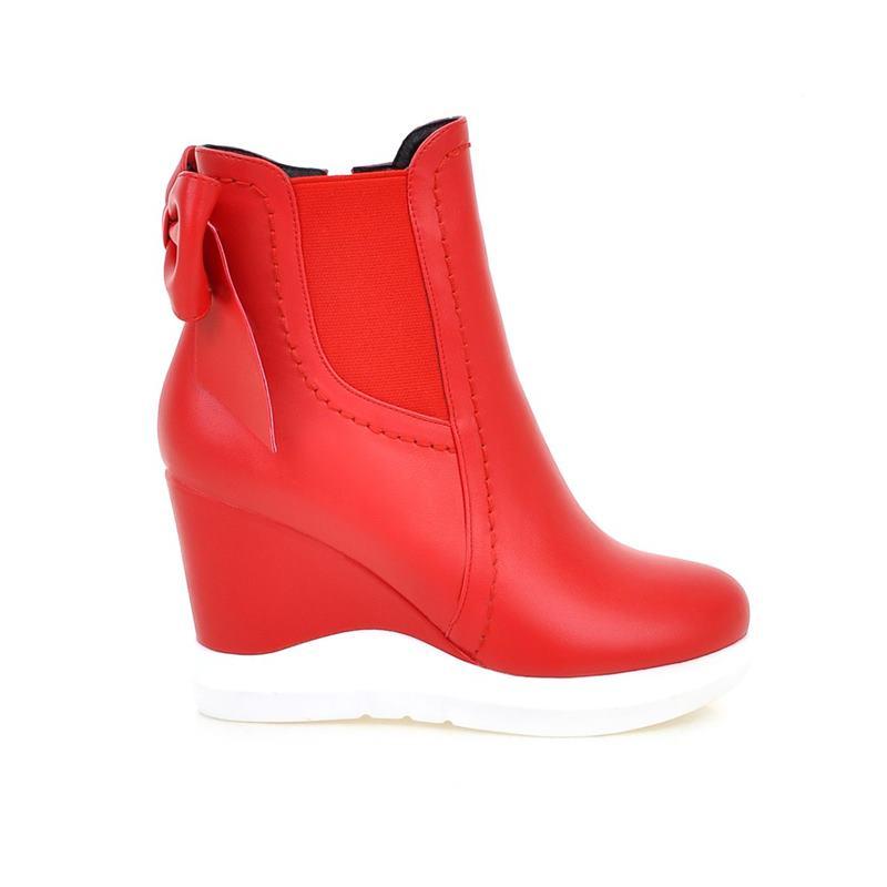 Cheville Simple De black Bowtie Nouvelle D'hiver Coins Mode Plate Chaussures Red Femmes Smeeroon Bottes forme 2018 Automne Femme 7pUqxwwP