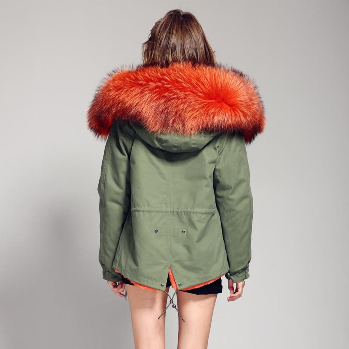 JAZZEVAR 2019 femme armée vert grand raton laveur col de fourrure manteau à capuche parkas outwear 2 en 1 doublure amovible veste d'hiver-in Parkas from Mode Femme et Accessoires    2