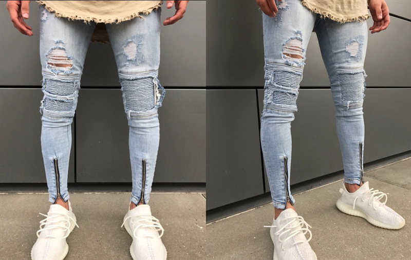 Ripped Zipper   Jeans   Men Slim Fit Mens Knee Holes Distressed Denim Joggers Skinny Pants Male 2018 Autumn Fashion   Jeans