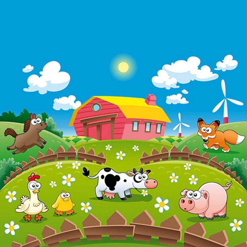 Blue Sky White Cloud Cottage Farm Scene Animal Fence photo backdrop Vinyl cloth Computer printed wall  Photography Backgrounds