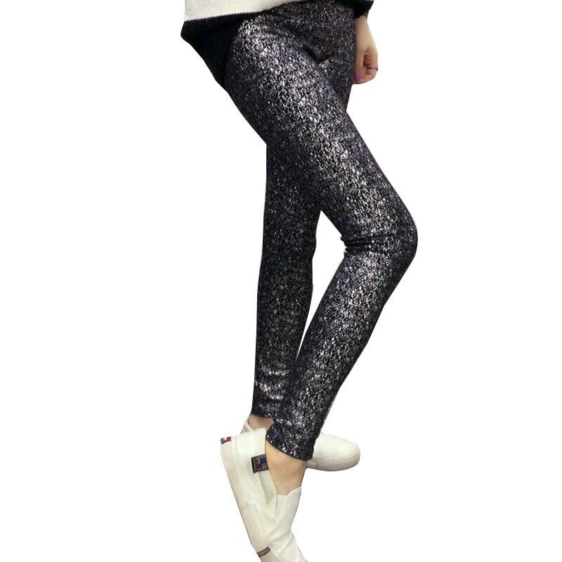 NORMOV Women Leggings Fashion Sexy Sequins Shiny Black Spring Summer Low Waist Trendy Puck Rock Fashion Leggings Women