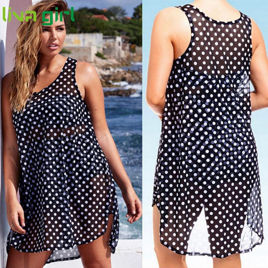 2017 Women beach dress font b Dots b font Print summer dress chiffon female women dress 3 dots clothing promotion shop for promotional 3 dots clothing on,3 Dots Womens Clothing