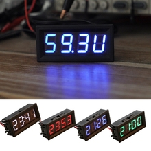 Temperature-Clock Voltmeter Digital Automative DIY for Usage with Green-Color 3m 3m