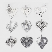 2pcs Antique Silver Lagenlook Large Big Abstract Heart Charms Pendant For Necklace Jewellery Making Accessories
