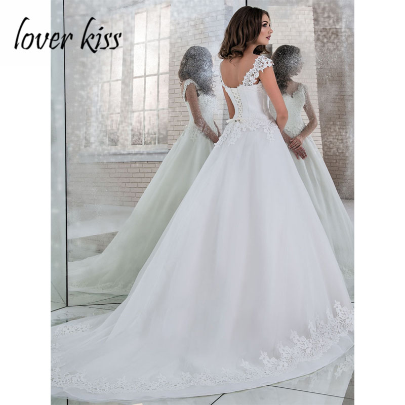 Image 2 - Lover Kiss Vestido De Noiva A Line Tulle Wedding Dress V Neck Lace Appliques Bridal Bride Gowns Corset Back 2019 Robe de Mariage-in Wedding Dresses from Weddings & Events