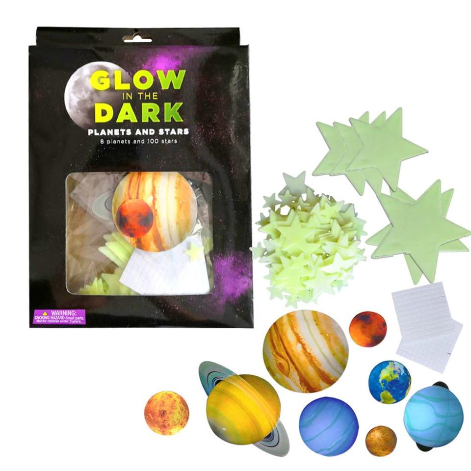 Luminous Round Planets Star Pvc Wall