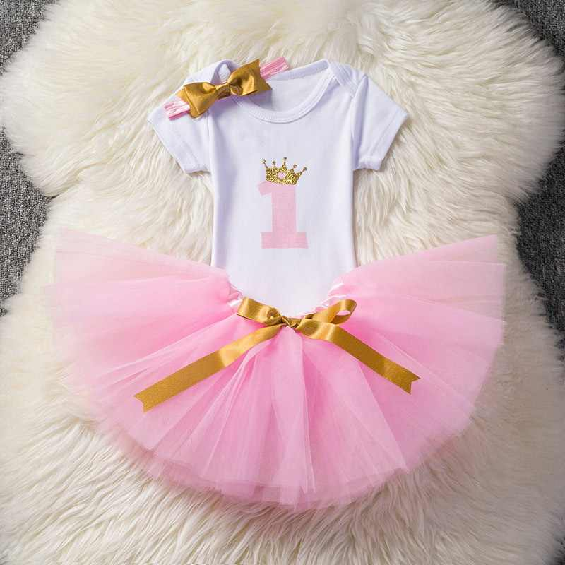 Baby Girl Clothes Christmas Party Dresses for 1 Year Old Infant Toddler Baby Children It's My 1st Birthday Tutu Suits