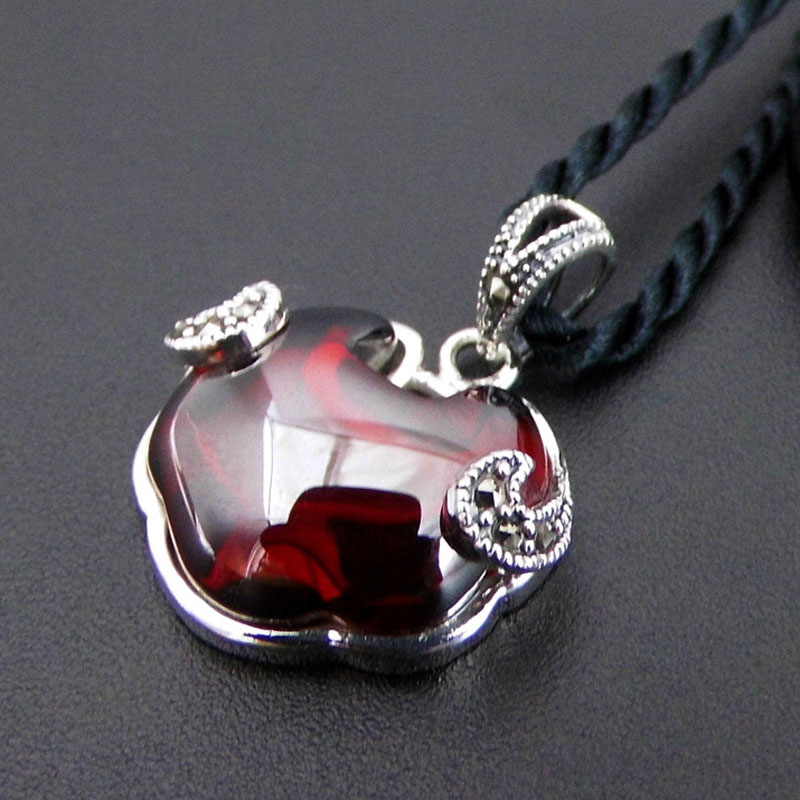 цена 925 Silver Pendant 100% Pure S925 Solid Thai Silver Synthetic Stone Red Cubic Zircon Pendants for Women Men Jewelry Making