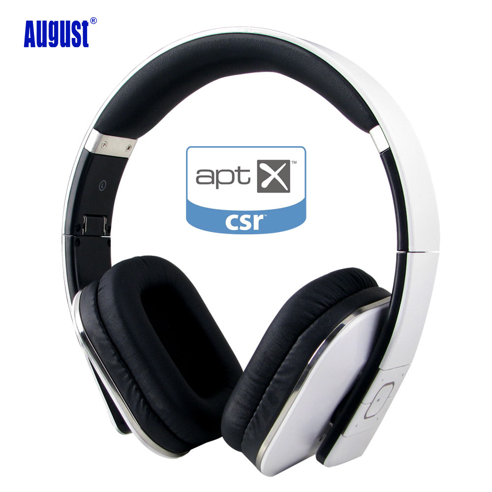 August EP650 Bluetooth Headphones with Mic Over Ear Stereo Bluetooth 4.1 Headset aptX Wireless Headphones for TV,Phone - White merrisport wireless bluetooth foldable over ear headphones headsets with mic for for cellphones ipad iphone laptop rose gold
