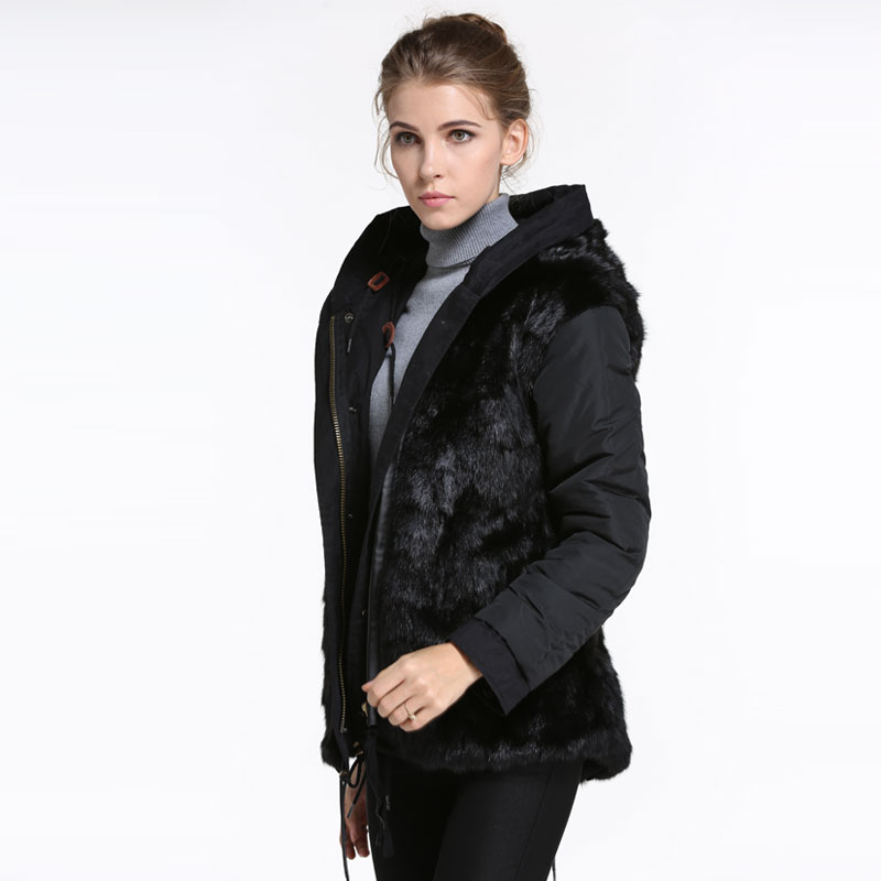 Promotion! Winter Women Rabbit Warming Jacket Black short reversible winter coat